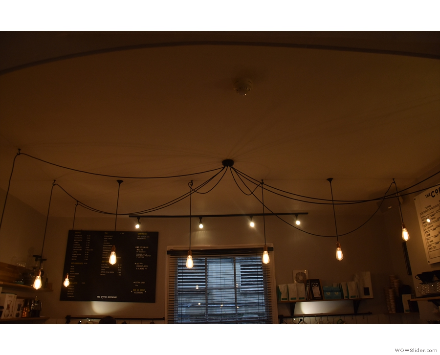 ... which each section having its own array of hanging light bulbs.