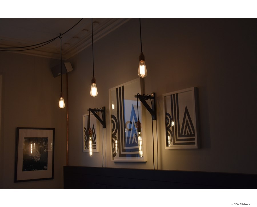 More lights, including some pendant lamps hanging from the walls.