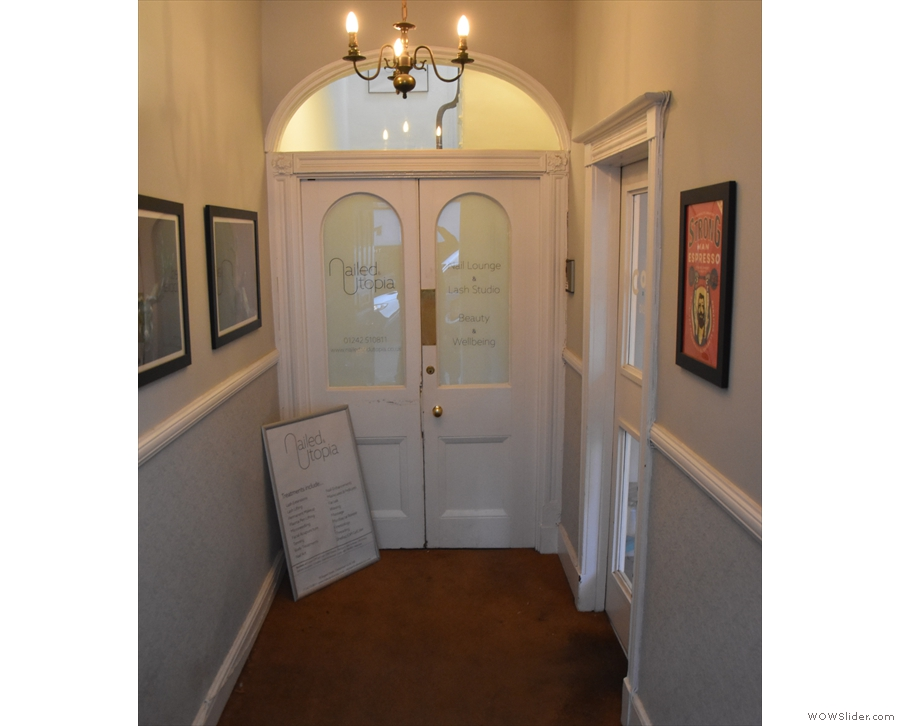 The double doors at the end are for the nail bar upstairs. You want...