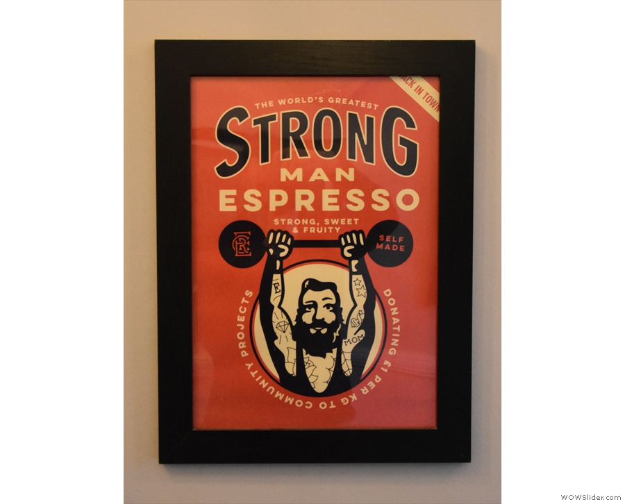 ... and this poster for Extract's seasonal Strongman espresso (the house espresso).
