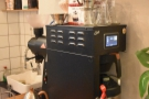 Meanwhile, at the far end of the counter is the batch-brew, EK43 grinder...