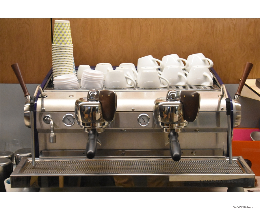 ... and here's the espresso machine itself, a classic Slayer Mk 1.