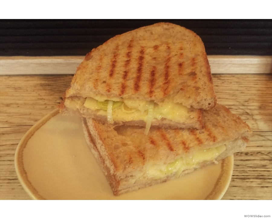 ... and, because I wanted to sample the food, a rather lovely cheese and leek toastie.