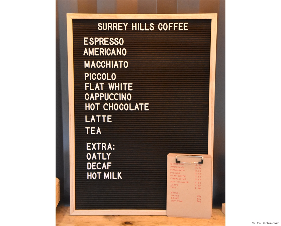 The coffee menu, meanwhile is on the back wall...