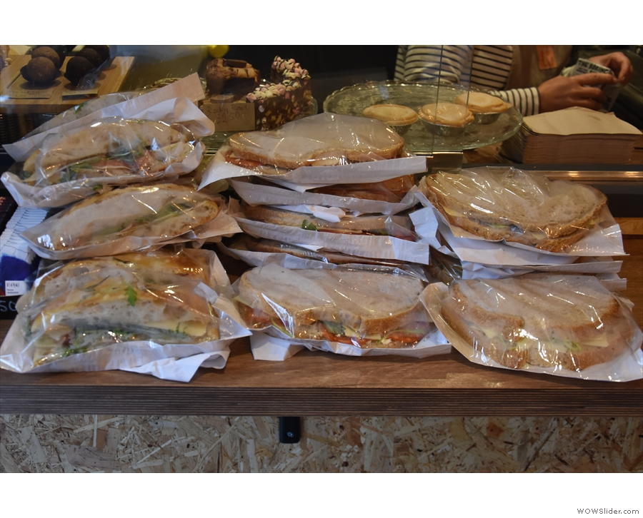 Talking of which, here are some of the preprepared sandwiches, ready for the lunch rush.