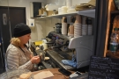 ... and here's Monika, hard at work at the espresso machine, making...