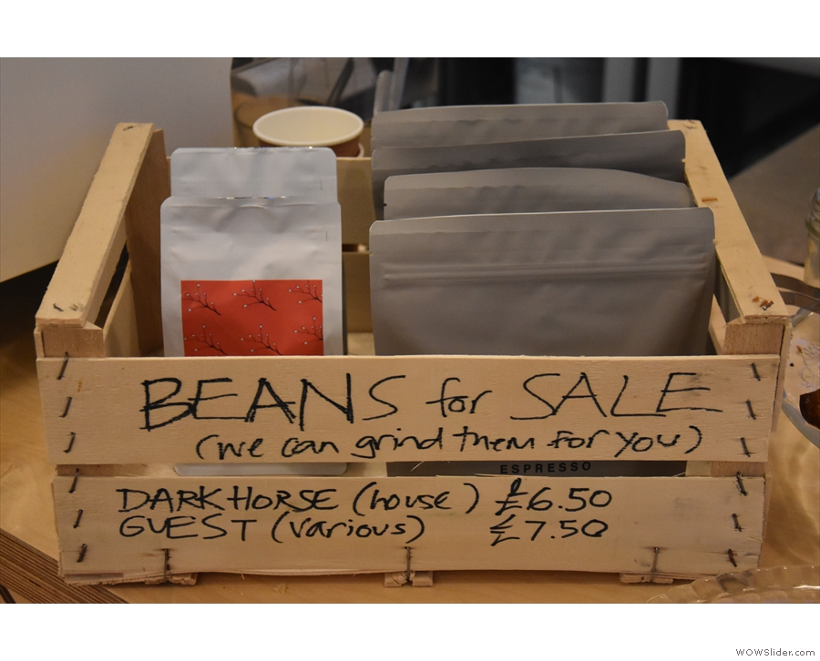 ... while there are some beans for sales on the counter.