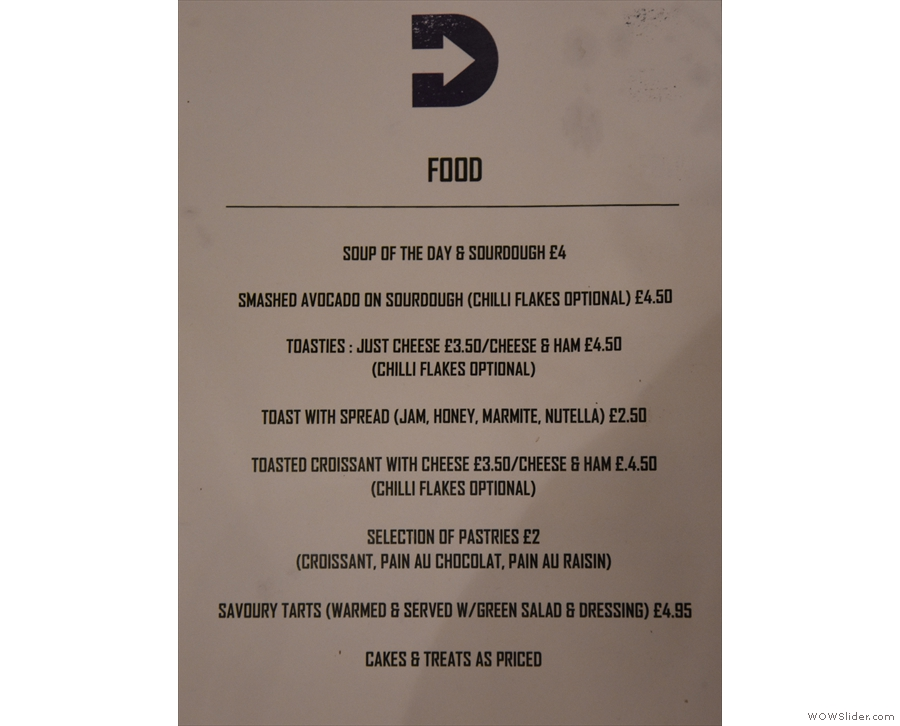 There's also a handy food menu which you'll find on the tables.