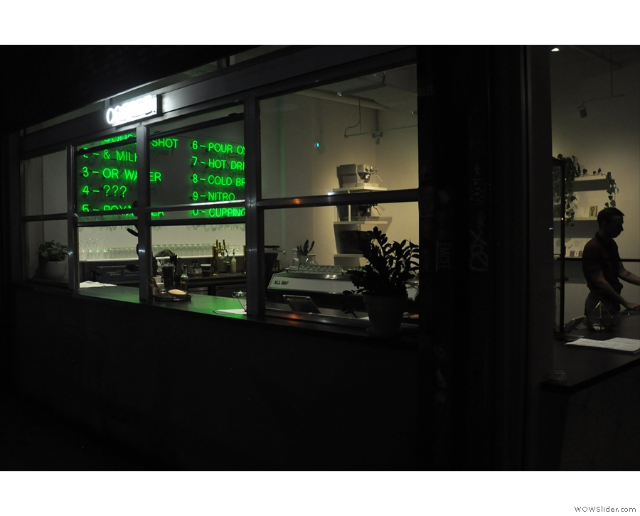 ... and here it is in complete darkness, the green neon menu shining to its full potential.