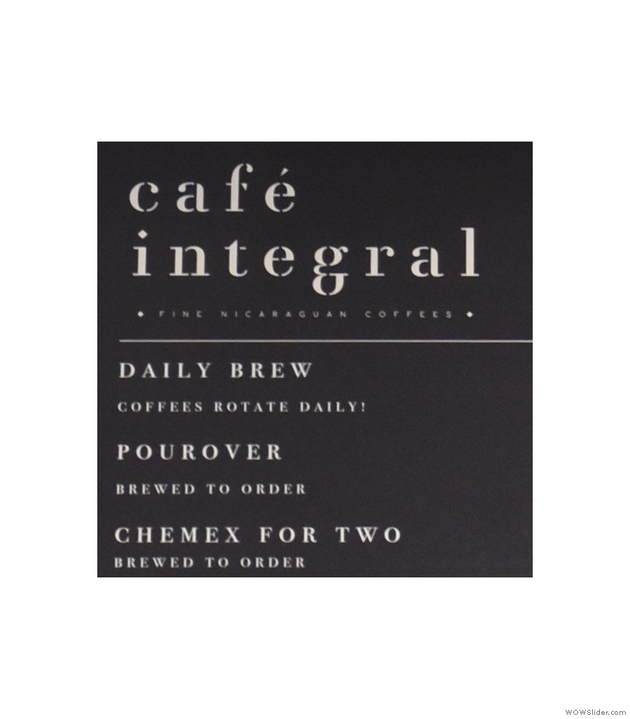 Cafe Integral, Elizabeth St, with the El Bosque, a naturally-processed Nicaraguan coffee.