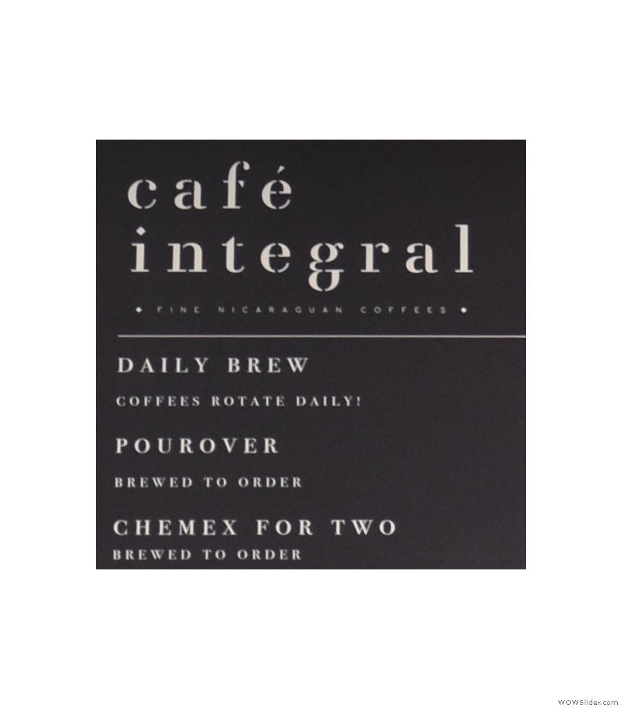 Cafe Integral, Elizabeth Street, specialising in Nicaraguan coffee in New York City.
