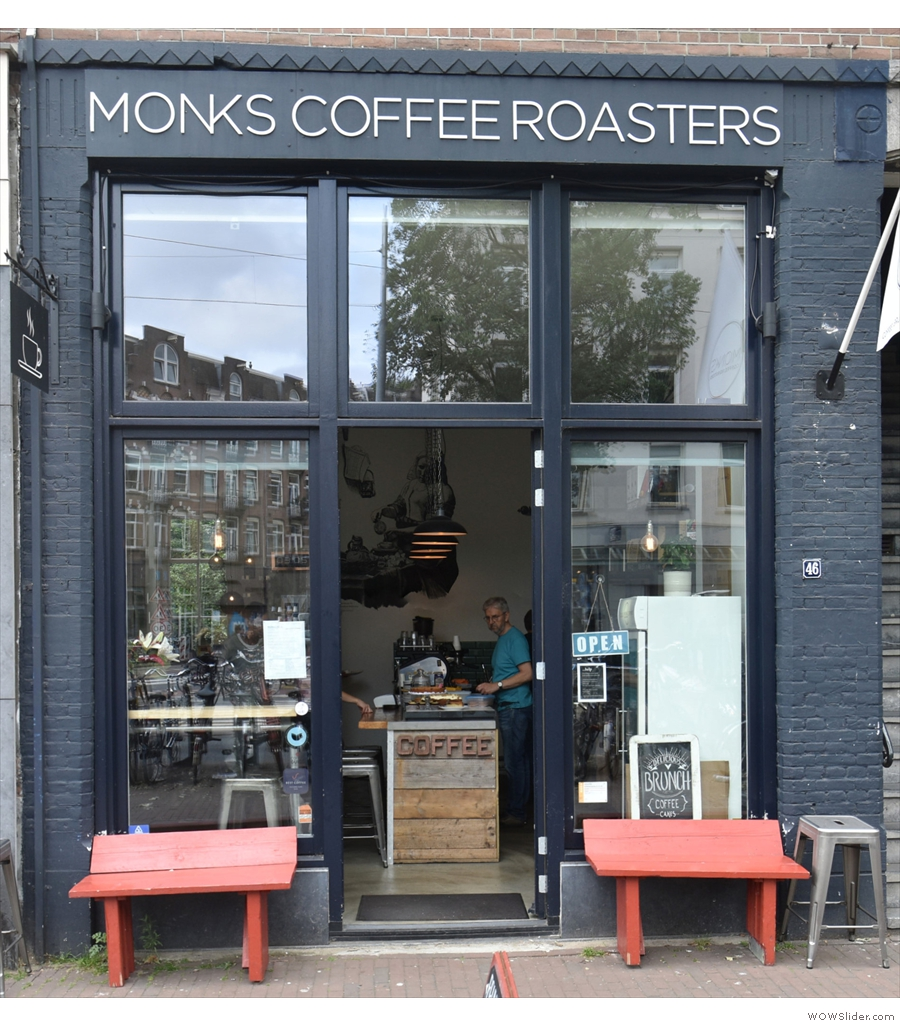 Monks Coffee Roasters in Amsterdam, another large, light-filled interior.