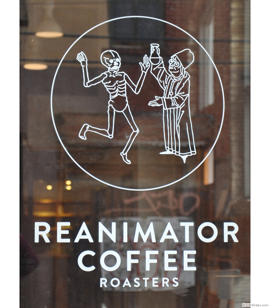 ReAnimator Coffee Roastery in a large, brick-built warehouse-like building in Philadelphia.