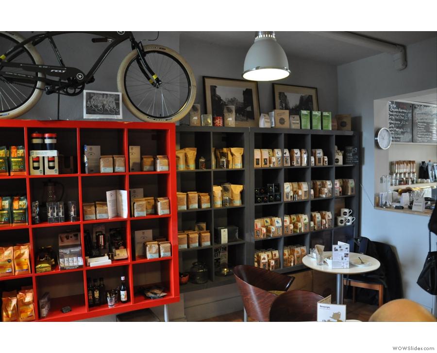 Shelves and shelves of coffee and tea.