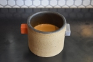 ... as an espresso, served in this awesome earthenware cup.