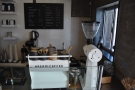 ... and the single-group Synesso Hydra espesso machine, along with the EK-43 grinder.