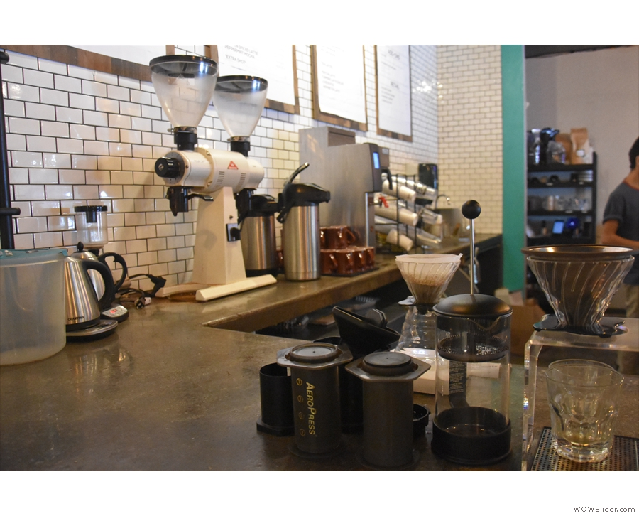 I planted myself at the end of the counter next to the pour-over station.