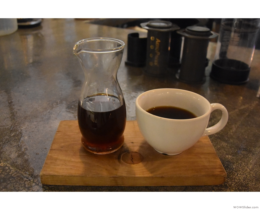 ... I had to try one, a V60 of a Guatemalan from Vancouver's 49th Parallel...