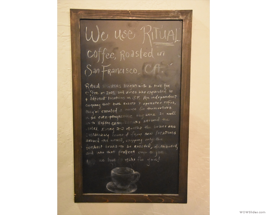 For its house-blend on espresso, Maverick uses San Francisco's Ritual Coffee.