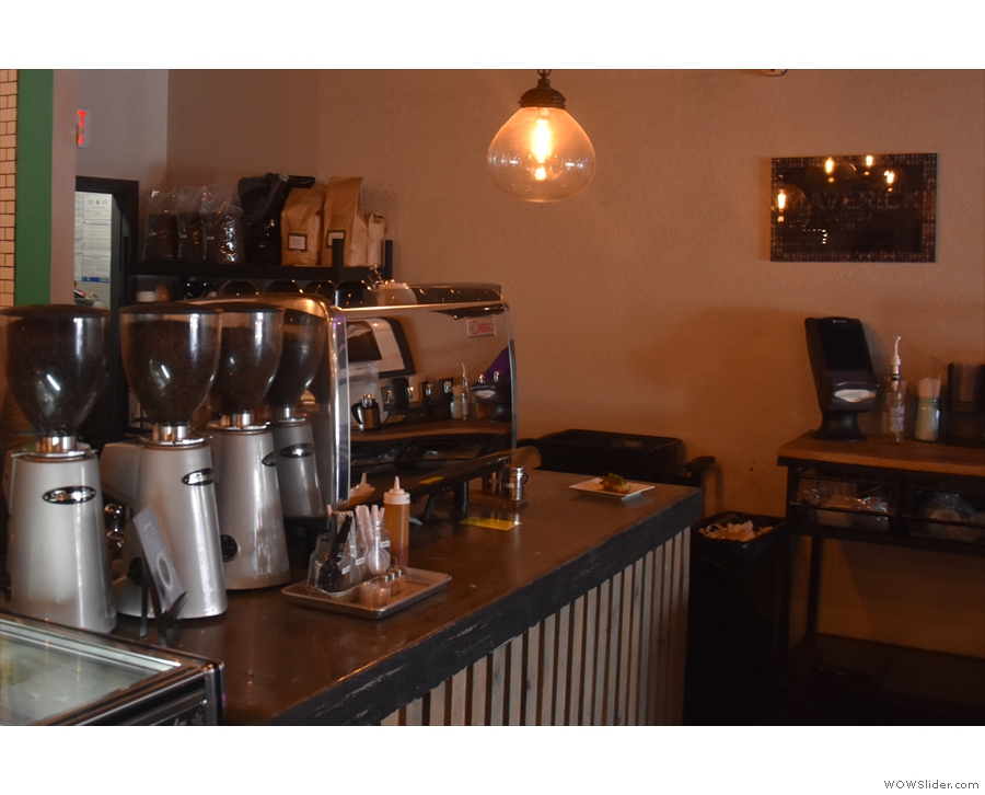 The espresso side of the operation is on the far end of the counter...