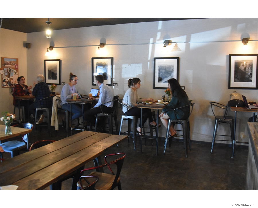 ... although there is a row of four-person tables against the left-hand wall.