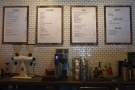 The menus, meanwhile, are on the wall behind the counter.