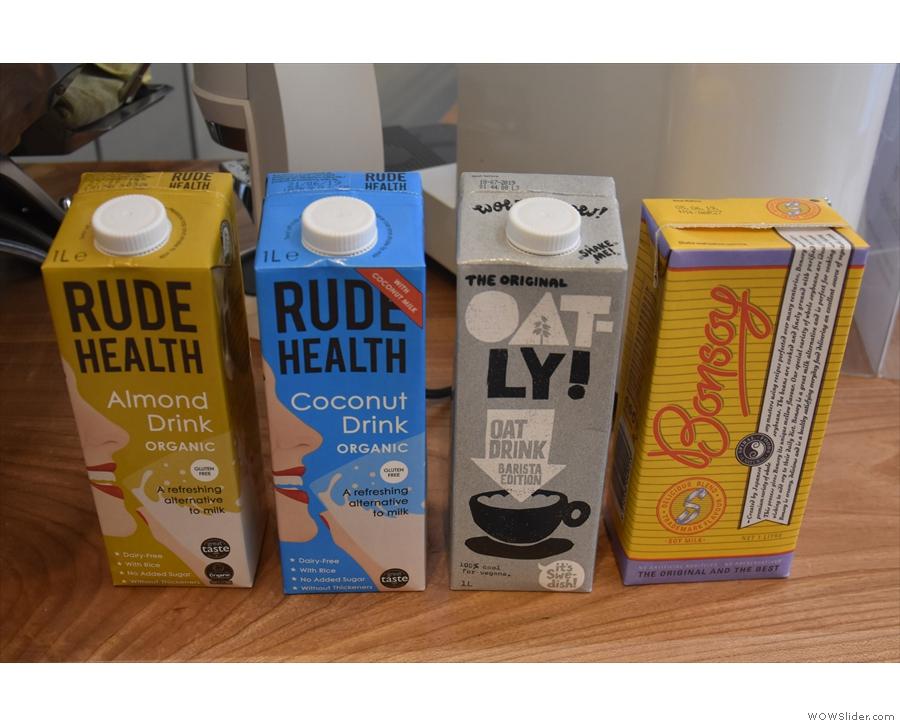 There's also a decent range of non-dairy alternative milks.