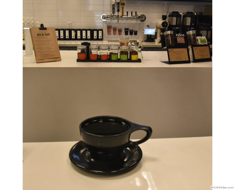 My coffee, eying up the brew bar from whence it came.