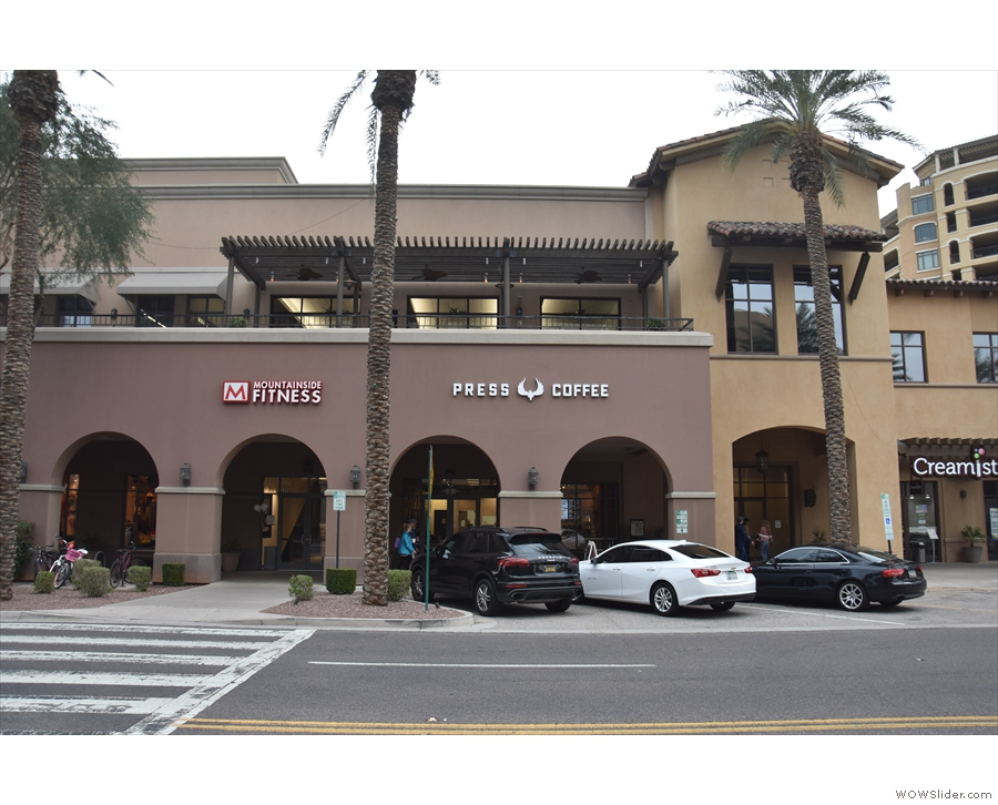 Press Coffee, in Scottsdale Waterfront, as seen from across North Marshall Way.