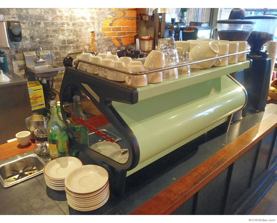... a green La Marzocco Strada (seen here in 2019).