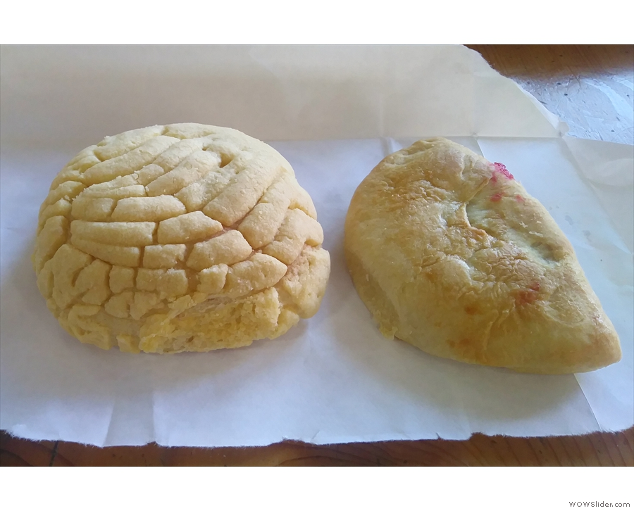 I also grabbed breakfast from La Estrella Bakery, a bun (left) and cherry pie (right).