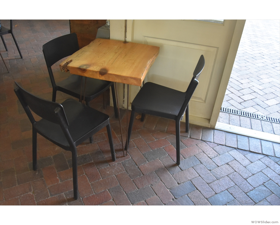 ... along with this three-person table, tucked around the corner...