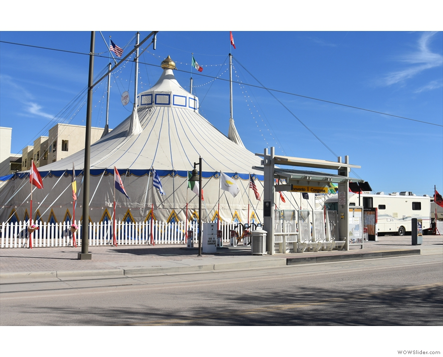 Just across the road, the circus was in town. But more importantly, there's a tram stop.