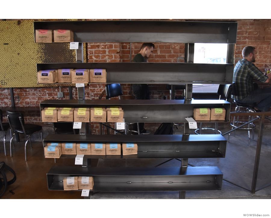 ... all of which are available to purchase in retail bags from the shelves on the left.