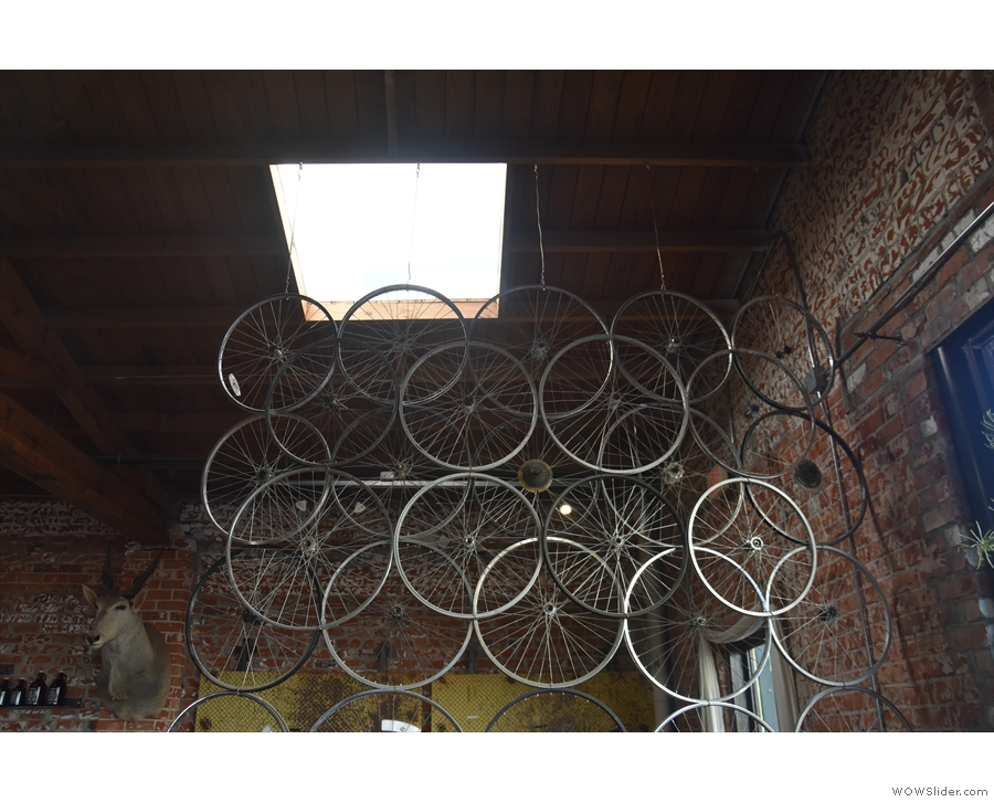 I particularly liked the wall of bicycle wheels hanging from the ceiling at the front.