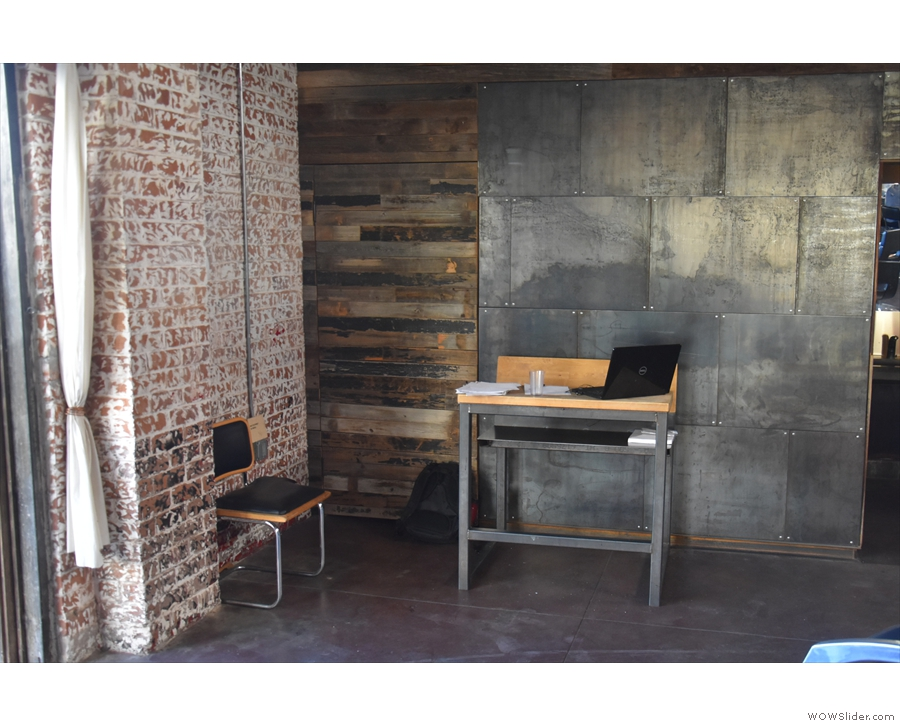 ... including this single-person table against the back wall...