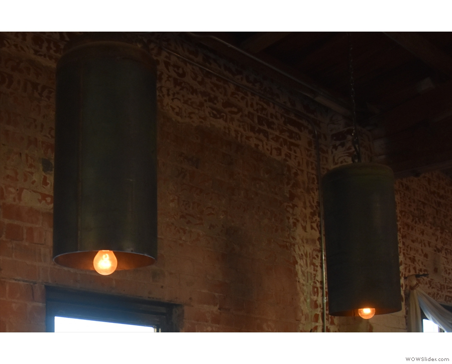 Finally, there were these tube-shaped lampshades hanging above the tables on the left.