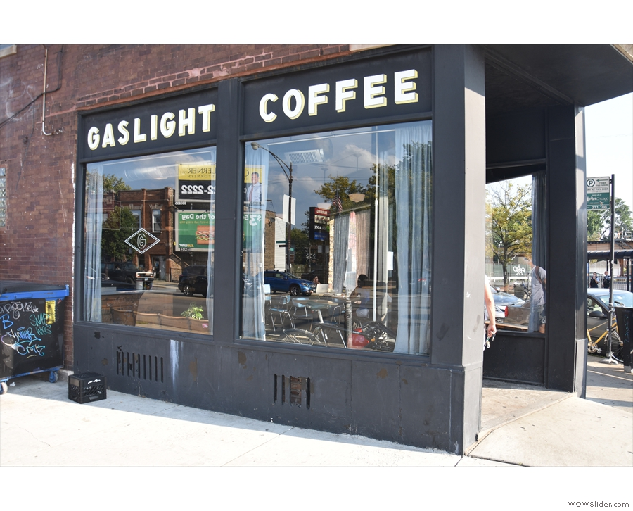 There's no doubting where we are though: Gaslight Coffee on this side, while around...