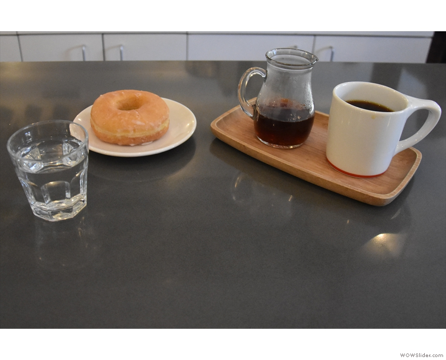 I went for the batch-brew and a doughnut, which all came with a glass of sparkling water.