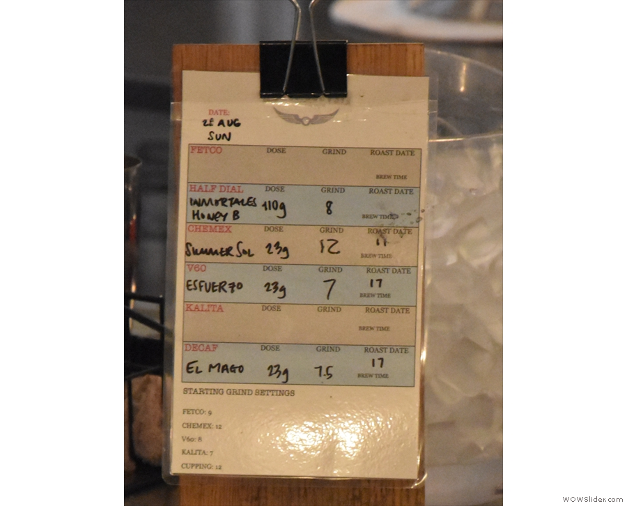 A handy crib sheet for the baristas: it's hard to hide these things on an island counter!