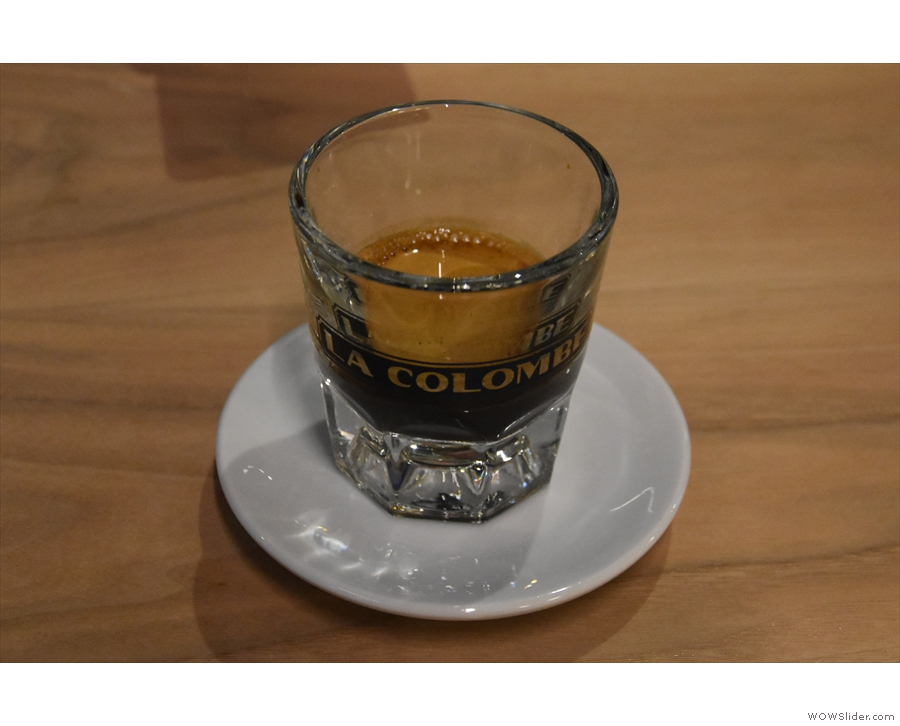 My espresso, the single-origin Papua New Guinea, served in a glass...