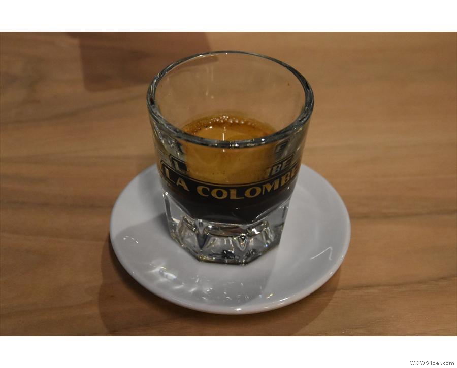 My espresso, the single-origin Papua New Guinea, served in a glass...