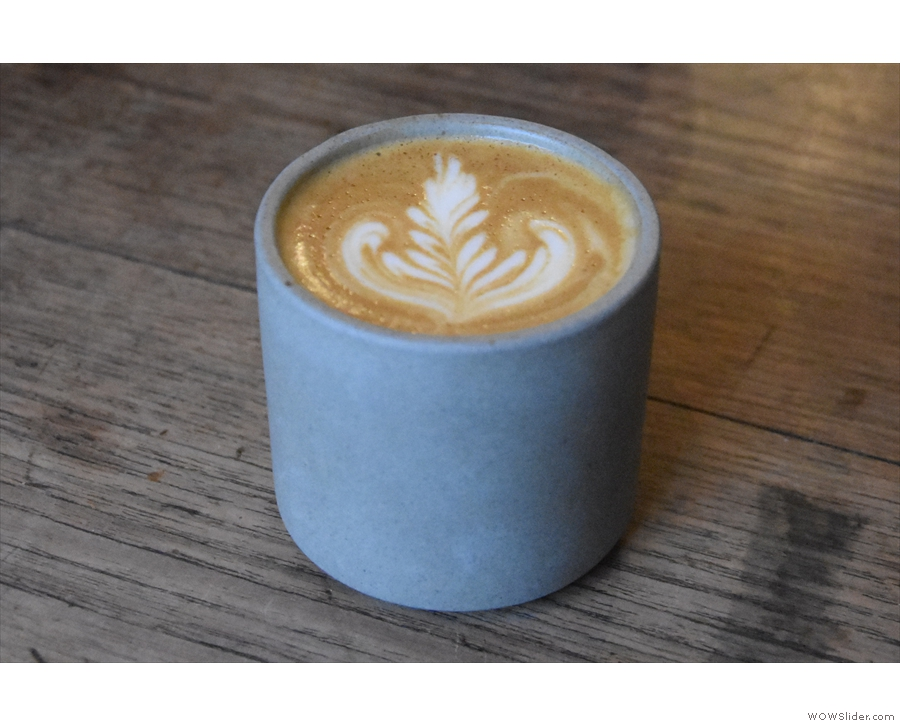 I started with a flat white in this lovely, handleless ceramic cup...