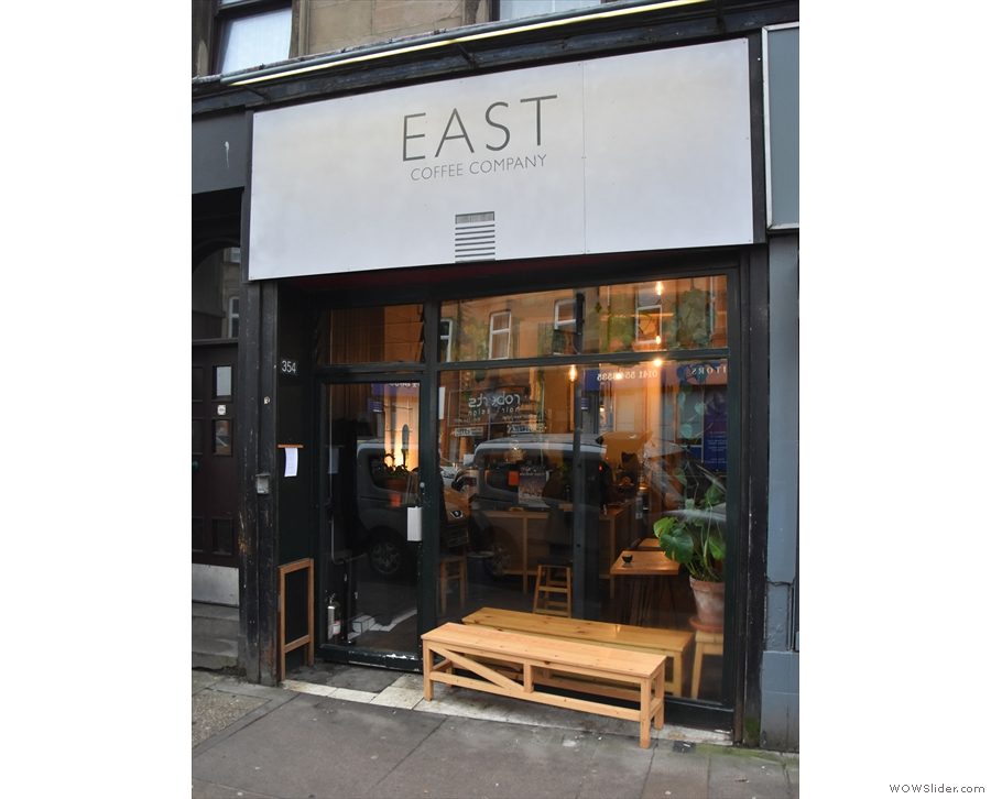East Coffee Company on Glasgow's Duke Street, with a bench outside the window...