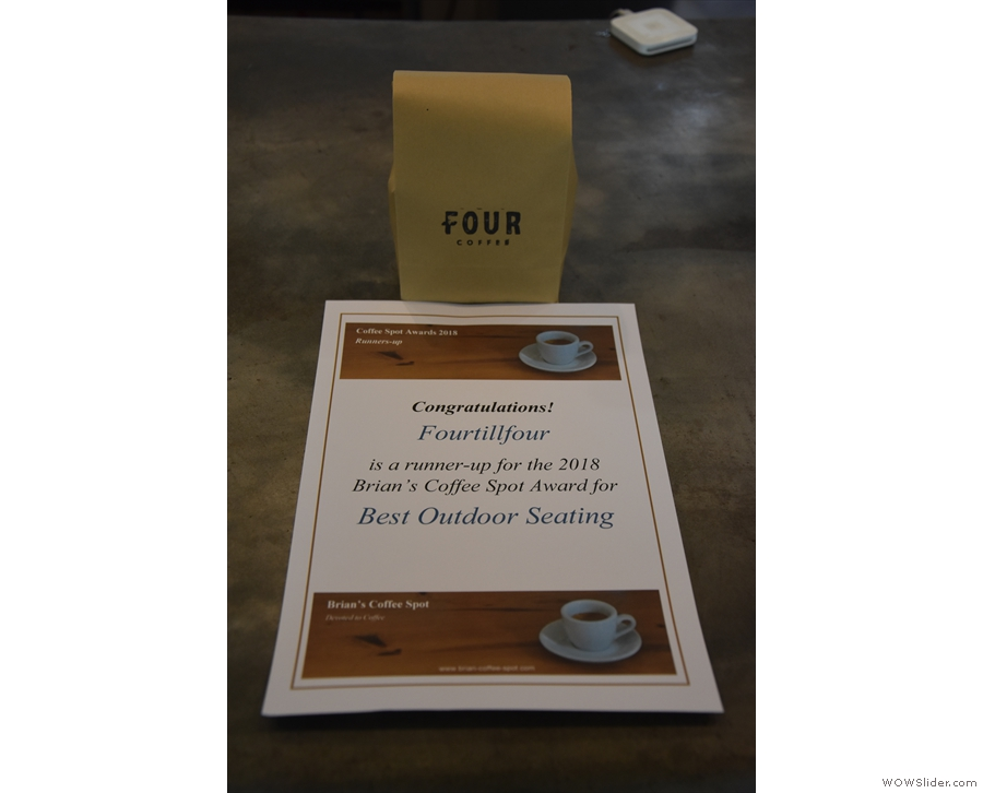 I'll leave you with Fourtillfour's Coffee Spot Award certificate, which I dropped off.