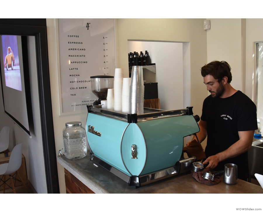 Let's put co-owner, Nico, to work, seen here at the espresso machine in February 2018.