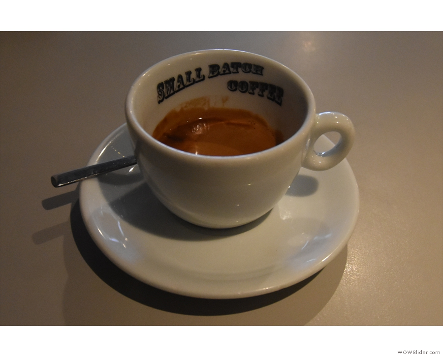 My espresso, meanwhile, made with the Goldstone blend, was served in a classic...