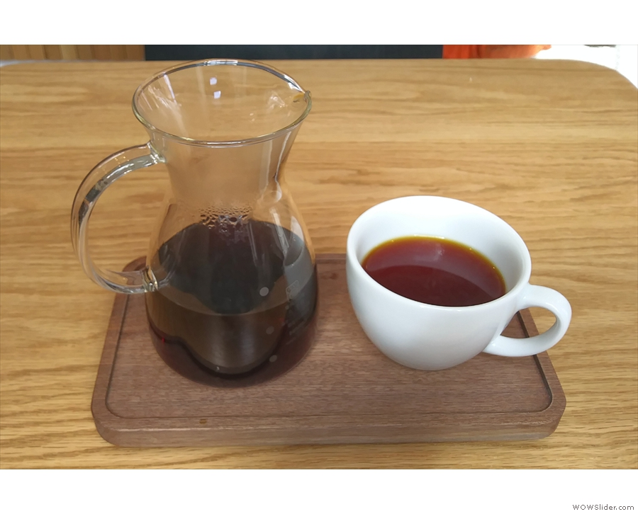 I had the Kenyan Karatina through the BeeHouse dripper, served, as it should be...