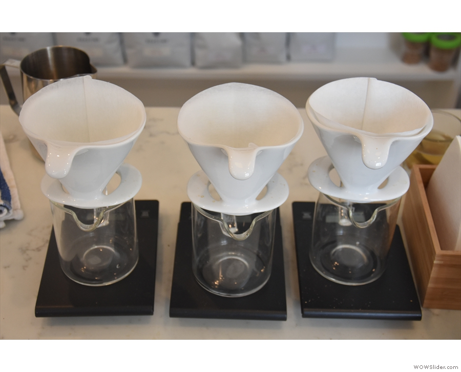 First come the BeeHouse drippers for the pour-over, while at the far end...