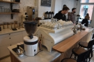 ... the Strada has a Mahlkönig Peak grinder, in matching white, of course.